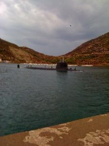 Submarine while swimming