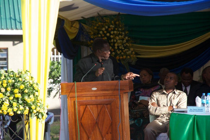 "anzania's Prime Minister Mizengo Peter Pinda speaks to a crowd of more than 2,000 people and points to his fellow leaders as he says ""we need to make this top priority at a national level."""