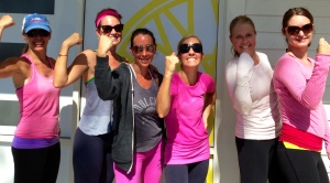 "Marin girls do a pre ""Fuck Cancer"" Soul Cycle ride. Lots of pink. Lots of ""Roar"" and ""Guts Over Fear""."
